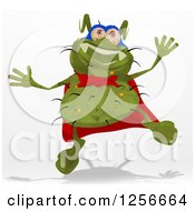 Clipart Of A Green Super Germ Jumping Royalty Free Illustration