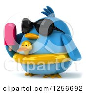 Clipart Of A 3d Chubby Blue Bird Wearing Sunglasses And A Ducky Inner Tube Holding A Popsicle Royalty Free Illustration