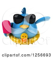 Clipart Of A 3d Chubby Blue Bird Wearing Sunglasses And A Ducky Inner Tube Flying With A Popsicle Royalty Free Illustration