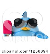 Clipart Of A 3d Chubby Blue Bird Wearing Sunglasses And Holding A Popsicle Over A Sign Royalty Free Illustration