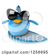 Clipart Of A 3d Chubby Surfing Blue Bird Wearing Sunglasses Royalty Free Illustration