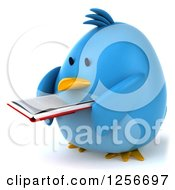 Clipart Of A 3d Chubby Blue Bird Reading A Book Royalty Free Illustration