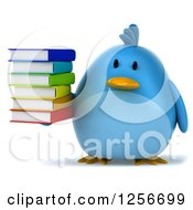 Clipart Of A 3d Chubby Blue Bird Holding A Stack Of Books Royalty Free Illustration