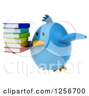 Clipart Of A 3d Chubby Blue Bird Flying With A Stack Of Books Royalty Free Illustration