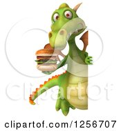 Clipart Of A 3d Green Dragon Holding A Double Cheeseburger Around A Sign Royalty Free Illustration