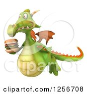 Clipart Of A 3d Green Dragon Flying With A Double Cheeseburger Royalty Free Illustration