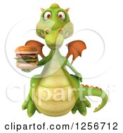 Clipart Of A 3d Green Dragon Holding A Double Cheeseburger Royalty Free Illustration