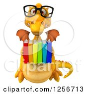 Clipart Of A 3d Bespectacled Yellow Dragon Holding Books Royalty Free Illustration