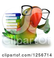 Clipart Of A 3d Bespectacled Green Parrot Holding A Thumb Up And Books Royalty Free Illustration
