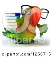 Clipart Of A 3d Bespectacled Green Parrot Holding A Thumb Down And Books Royalty Free Illustration