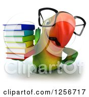 Clipart Of A 3d Bespectacled Green Parrot Holding Books Royalty Free Illustration