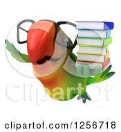 Clipart Of A 3d Bespectacled Green Parrot Flying With Books Royalty Free Illustration