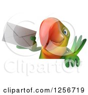 Clipart Of A 3d Green Parrot Holding An Envelope Over A Sign Royalty Free Illustration