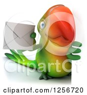 Clipart Of A 3d Green Parrot Holding An Envelope Around A Sign Royalty Free Illustration