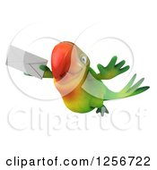 Clipart Of A 3d Green Parrot Flying With An Envelope Royalty Free Illustration