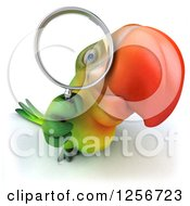 Clipart Of A 3d Green Parrot Looking Through A Magnifying Glass Royalty Free Illustration
