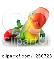 Clipart Of A 3d Green Parrot Pulling Luggage Royalty Free Illustration