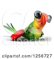 Clipart Of A 3d Green Parrot Wearing Sunglasses And Pulling Luggage Royalty Free Illustration
