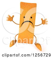 Clipart Of A 3d Sad French Fry Character Jumping Royalty Free Illustration