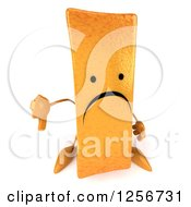 Clipart Of A 3d Sad French Fry Character Holding A Thumb Down Royalty Free Illustration