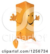 Clipart Of A 3d Happy French Fry Character Jumping Royalty Free Illustration