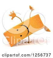 Clipart Of A 3d Happy French Fry Character Cartwheeling Royalty Free Illustration