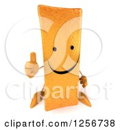 Clipart Of A 3d Happy French Fry Character Holding A Thumb Up Royalty Free Illustration