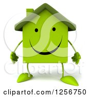 Clipart Of A 3d Green Home Character Royalty Free Illustration