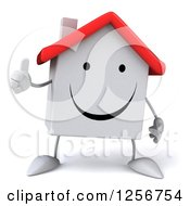 Clipart Of A 3d White House Character Giving A Thumb Up Royalty Free Illustration
