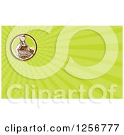 Clipart Of A Retro Woodcut Female Farmer And Harvest Business Card Design Royalty Free Illustration