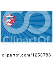 Clipart Of A Retro Running Football Player Business Card Design Royalty Free Illustration