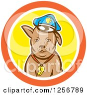 Clipart Of A Cartoon Police Dog In An Orange White And Yellow Circle Royalty Free Vector Illustration by patrimonio