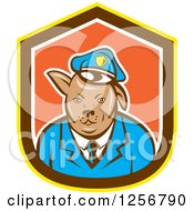 Clipart Of A Cartoon Police Dog In A Yellow Brown White And Orange Shield Royalty Free Vector Illustration by patrimonio