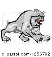 Clipart Of A Cartoon Gray Guard Bulldog Charging Royalty Free Vector Illustration by patrimonio