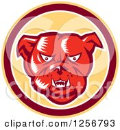 Clipart Of A Retro Red Woodcut Guard Bulldog In A Yellow Maroon And White Circle Royalty Free Vector Illustration by patrimonio