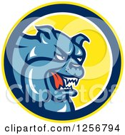 Clipart Of A Blue Guard Bulldog In A Yellow Blue And White Circle Royalty Free Vector Illustration by patrimonio