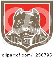 Clipart Of A Retro Woodcut Tough Pitbull Guard Dog In A White Red And Brown Shield Royalty Free Vector Illustration