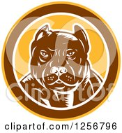 Clipart Of A Retro Woodcut Tough Pitbull Guard Dog In A Yellow Brown And White Circle Royalty Free Vector Illustration by patrimonio