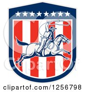Clipart Of A Retro Woodcut Cowboy Swinging A Lasso Over An American Shield Royalty Free Vector Illustration by patrimonio