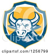 Clipart Of A Retro Woodcut Longhorn Steer Bull In A Blue White And Yellow Shield Royalty Free Vector Illustration by patrimonio