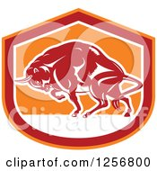 Retro Woodcut Charging Angry Bison In A Red White And Orange Shield