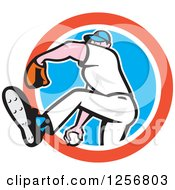 Clipart Of A Cartoon Male Baseball Player Pitching In A Red White And Blue Circle Royalty Free Vector Illustration