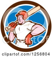 Clipart Of A Cartoon Male Baseball Player With A Bat In A Blue White And Brown Circle Royalty Free Vector Illustration by patrimonio