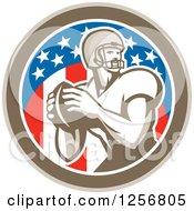 Clipart Of A Retro American Football Player Throwing In A Flag Circle Royalty Free Vector Illustration