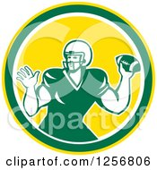 Retro Green American Football Player Throwing In A Yellow Circle