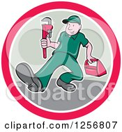 Poster, Art Print Of Cartoon Male Plumber Carrying A Monkey Wrench And Tool Box In A Pink White And Tan Circle