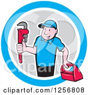 Clipart Of A Cartoon Male Plumber Carrying A Monkey Wrench And Tool Box In A Blue White And Gray Circle Royalty Free Vector Illustration