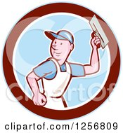 Clipart Of A Cartoon Male Mason Plasterer Worker Holding A Trowel In A Blue White And Maroon Circle Royalty Free Vector Illustration