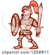 Clipart Of A Cartoon Happy Knight With A Shield And Sword Royalty Free Vector Illustration