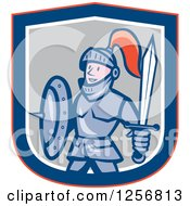 Clipart Of A Cartoon Happy Knight In A Red Blue White And Gray Shield Royalty Free Vector Illustration